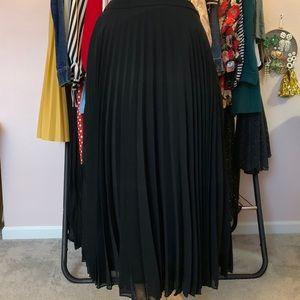 ASOS Black Pleated Midi Skirt